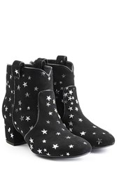 Laurence Dacade Suede Ankle Boots With Star Print Black