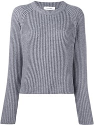 Carven Ribbed Cropped Jumper Grey