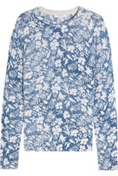 Equipment Sloane Floral Print Cashmere Sweater Blue
