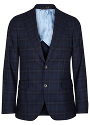 Oscar Jacobson Egel Navy Checked Wool Blazer