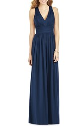 After Six Women's Crisscross Back Ruched Chiffon V Neck Gown Midnight