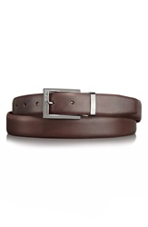 Tumi Leather Belt Dark Brown Gunmetal