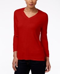 Karen Scott V Neck Sweater Only At Macy's Red Cherry