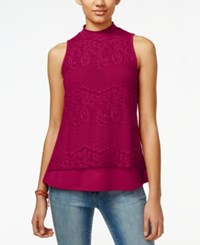 Self Esteem Juniors' Lace Mock Neck Top Red Plum