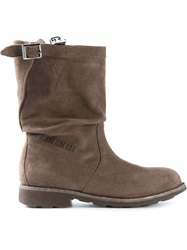 Bikkembergs Buckle Detail Distressed Boots Brown