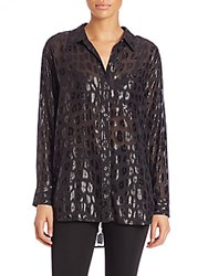Equipment Daddy Metallic Cheetah Print Shirt Black
