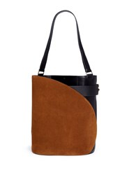 Hillier Bartley 'Cigar' Suede And Calfskin Leather Tote Brown