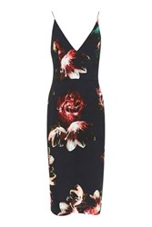Topshop Floral Plunge Midi Dress Navy Blue