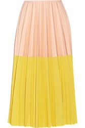 Cedric Charlier Two Tone Pleated Crepe Midi Skirt Yellow