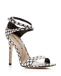 Via Spiga Tiara Snake Embossed Ankle Strap High Heel Sandals Black White