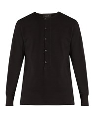 Christophe Lemaire Cotton Jersey Henley Sweatshirt Black