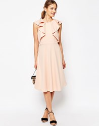 Asos Ruffle Neck Skater Midi Dress Pink