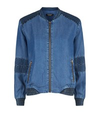 Juicy Couture Crystal Logo Back Chambray Bomber Jacket Female Blue