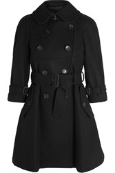 Comme Des Garcons Girl Belted Double Breasted Wool Blend Felt Coat Black