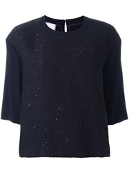 Talbot Runhof 'Laurin' Knit Top Blue