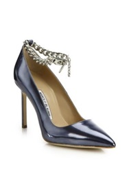 Manolo Blahnik Bb Metallic Patent Leather And Chain Ankle Strap Pumps Silver