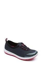 Women's Rockport 'Walk 360' Lace Up Sneaker Black Fabric