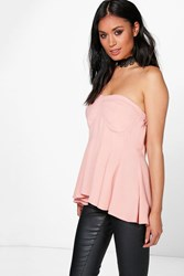 Boohoo Strapless Pleat Detail Woven Bustier Blush