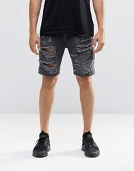Asos Slim Denim Shorts With Extreme Rips In Washed Black Washed Black
