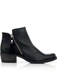 Kanna Kelly Zip Up Tassel Boots Black