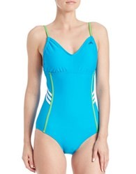 Adidas Beach Striped One Piece Swimsuit Shock Teal