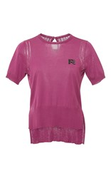 Rochas Short Sleeve Cotton Knit Top Pink