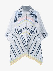 Peter Pilotto Wool Angora Blend Knitted Cape Grey Multi Coloured Denim