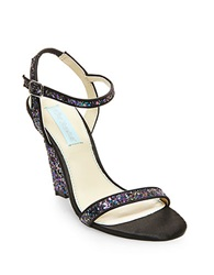 Betsey Johnson Darci Satin And Glitter Wedge Sandals Black Multi