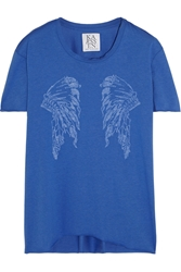 Zoe Karssen Printed Cotton And Modal Blend T Shirt Blue