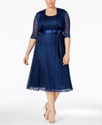 R And M Richards Plus Size Sequined Lace Dress And Jacket Navy