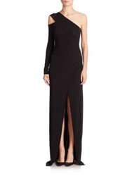 Yigal Azrouel One Shoulder Jersey Gown Black