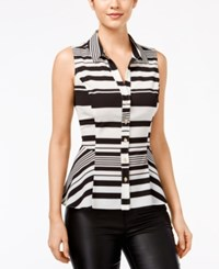 Xoxo Juniors' Striped Peplum Sleeveless Shirt Black Ivory