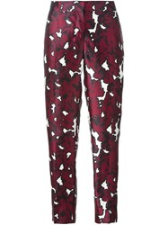 Oscar De La Renta Floral Print Trousers Pink And Purple