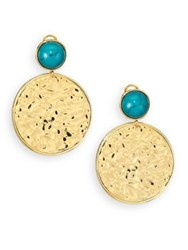 Nest Turquoise Medallion Drop Earrings Gold Turquoise