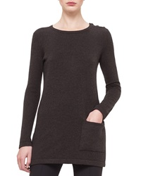 Akris Round Neck Long Sleeve Cashmere Top Cypress