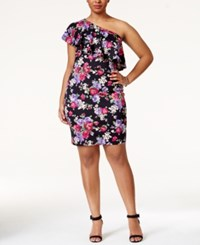 Soprano Plus Size Printed Ruffled One Shoulder Dress Black Floral