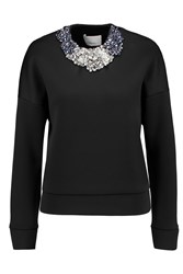 3.1 Phillip Lim Crystal Embellished Neoprene Sweatshirt Black