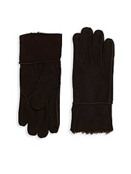 Saks Fifth Avenue Fur Lined Sheepskin Gloves Brown