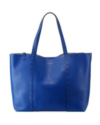 Furla Elle Rock Medium Studded Leather Tote Bag Blue
