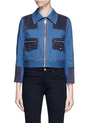 Marc Jacobs Oversized Suede Patchwork Cropped Denim Zip Jacket Blue