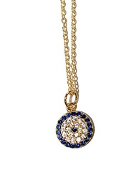 Lord And Taylor Sterling Silver Evil Eye Pendant Necklace Blue