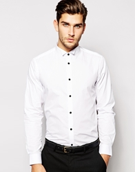 Smart Shirt In Long Sleeve With Wing Collar And Contrast Buttons White