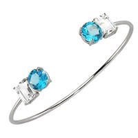Intua 8 Karat Light Blue And White Topaz Open Cuff