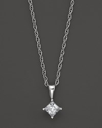 Bloomingdale's Princess Cut Diamond Pendant Necklace In 14K White Gold .50 Ct. Tw. No Color