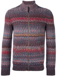 Missoni Zig Zag Zip Cardigan Pink And Purple