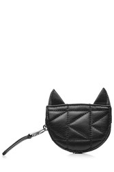 Karl Lagerfeld Kuilted Leather Cat Coin Purse Black