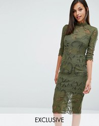 Love Triangle Long Sleeve Midi Dress In All Over Lace Deep Olive Green