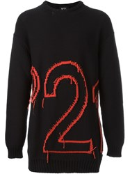 Nao21 Knitted Logo Jumper Black