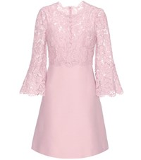 Valentino Lace Trimmed Wool And Silk Dress Pink