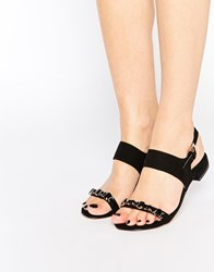 Ravel Embellished Flat Sandals Black